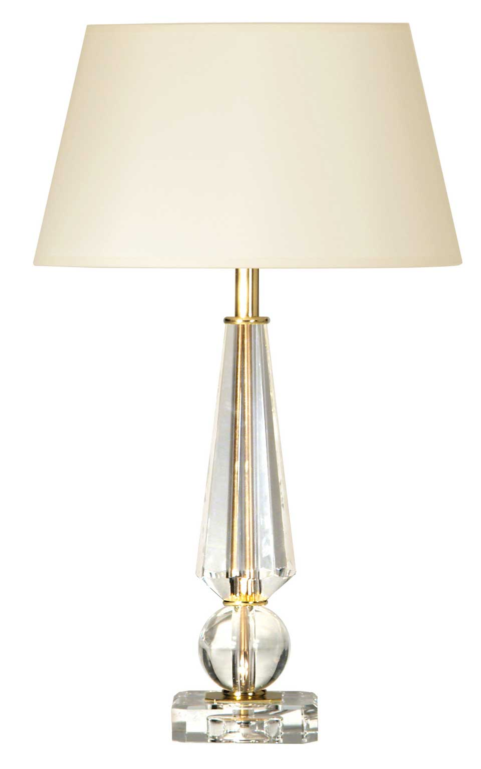 Diamond and ball optical glass shapes and gold metal table lamp Coty. Le Dauphin.