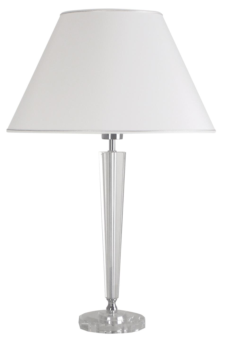 Henola B optical glass table lamp and white lampshade. Le Dauphin.