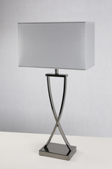 Hester polished black nickel table lamp. Le Dauphin.