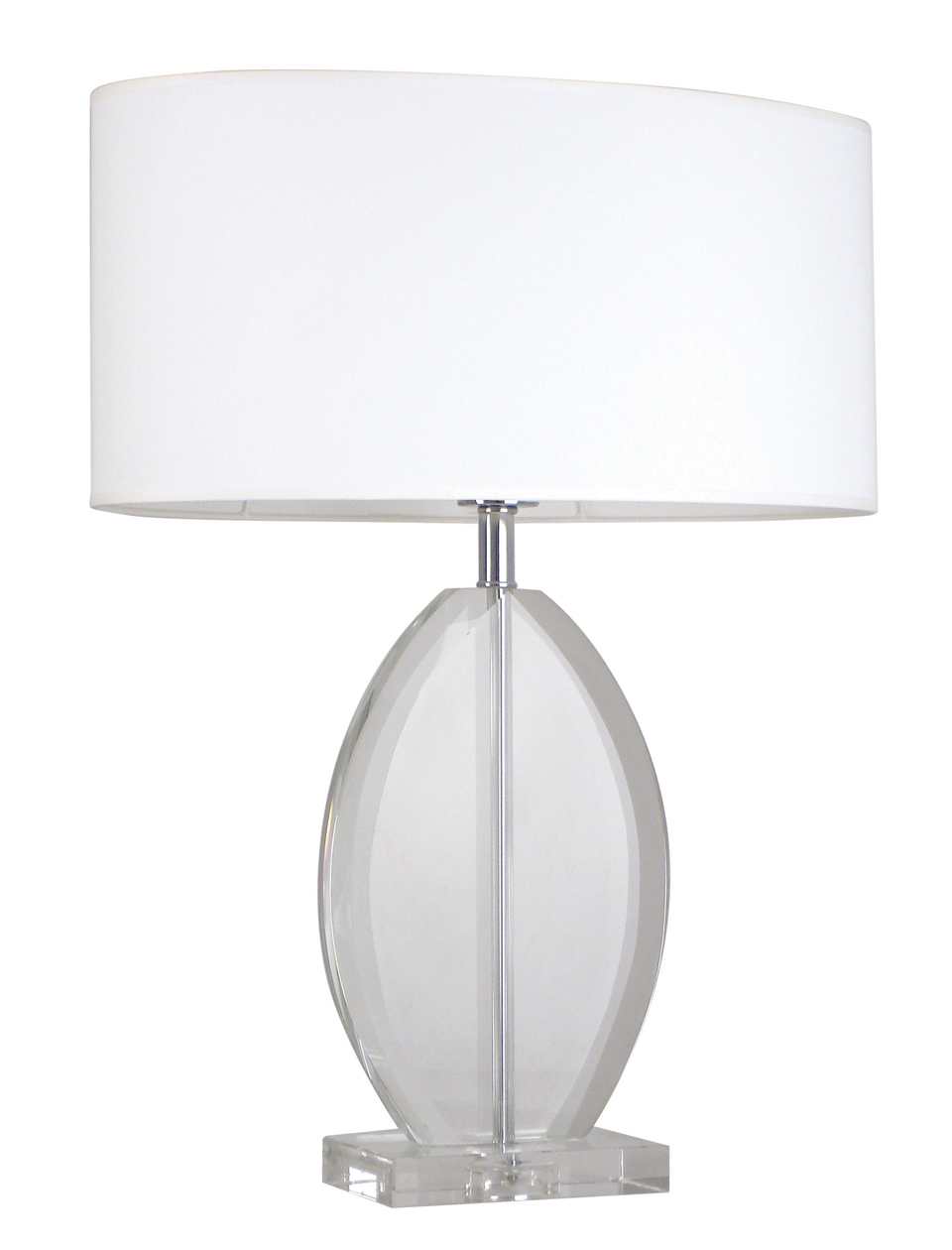 White Oval Lampshade Table Lamp Chromed Metal