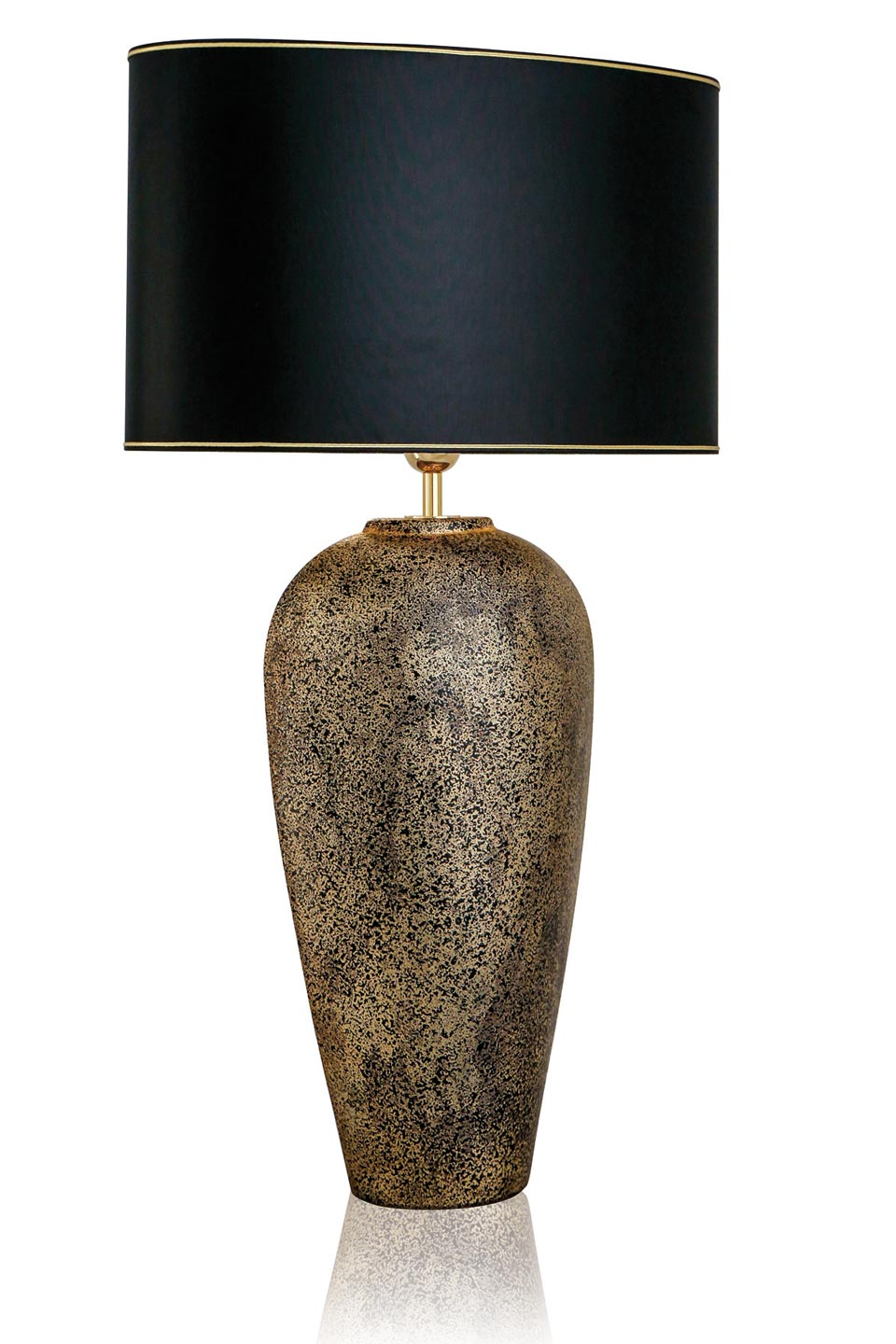 Black And Gold Mottled Ceramic Table Lamp And Cylindrical Blanc Lampshade With Gilt Edging
