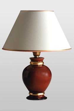 Lef red Ruby and gold ceramic table lamp. Le Dauphin.