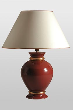 Leffard red Ruby and gold ceramic table lamp. Le Dauphin.