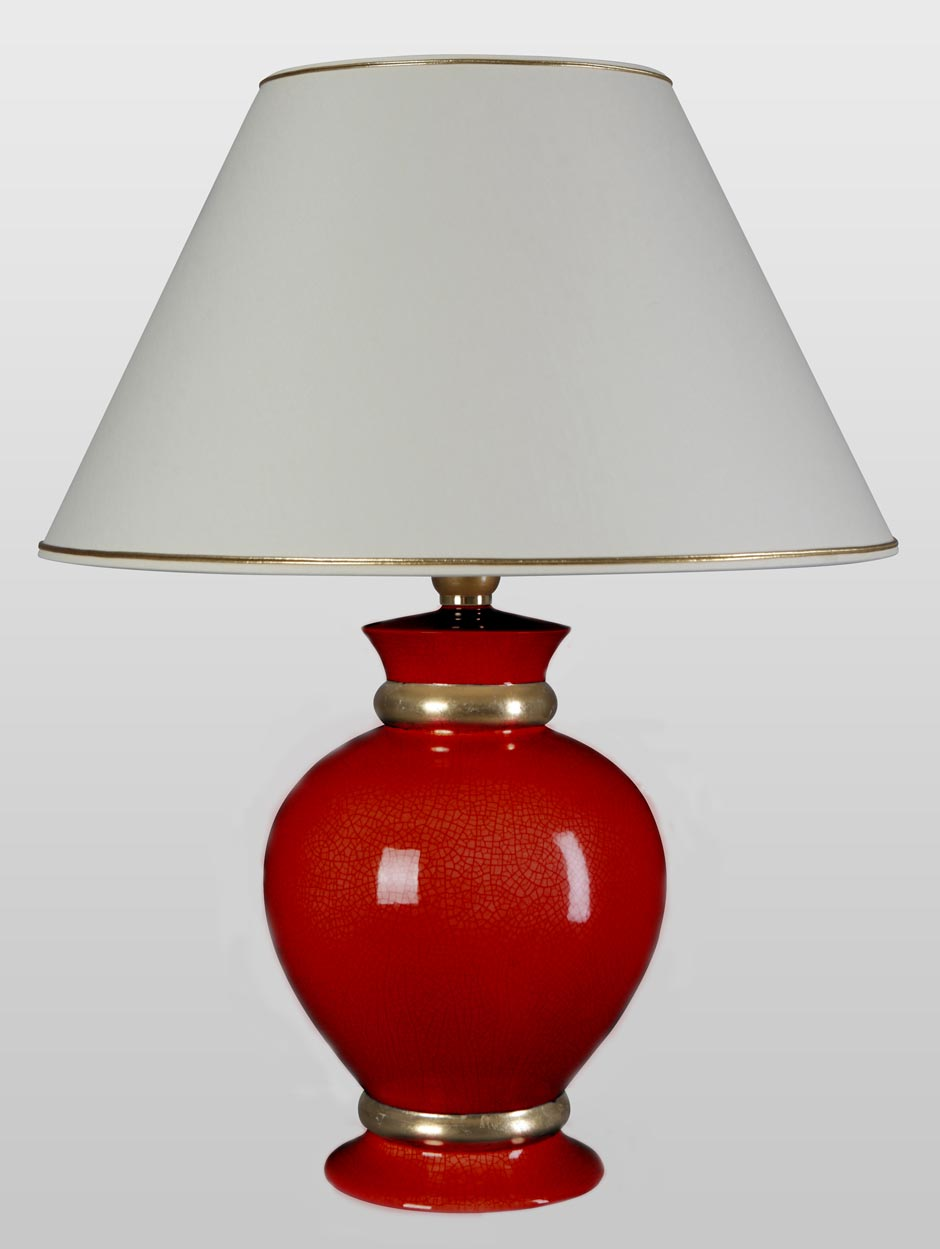 Dark Red And Gold Ceramic Table Lamp And Large Ivory Lampshade 3 Sizes Availables