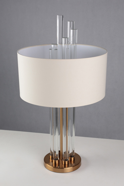 Moroni glass and bronze table lamp. Le Dauphin.