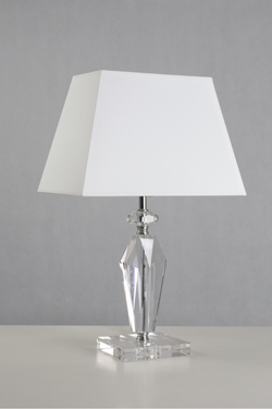 Table lamp in optical glass and white lampshade Heidi. Le Dauphin.