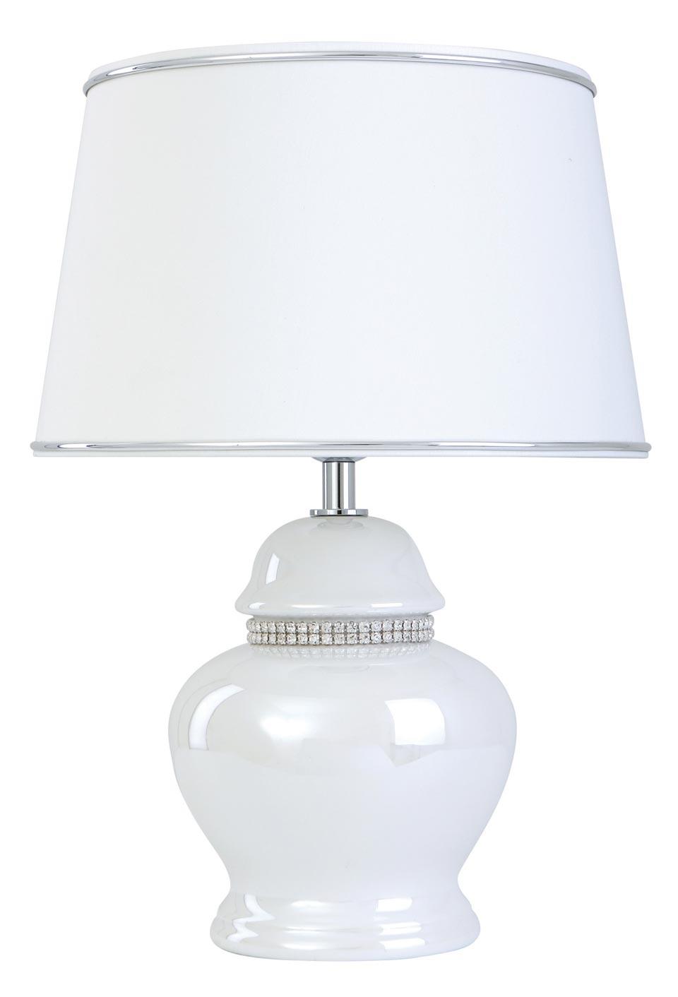 Rhinestone And Pearl White Ceramic Table Lamp Rive Le Dauphin
