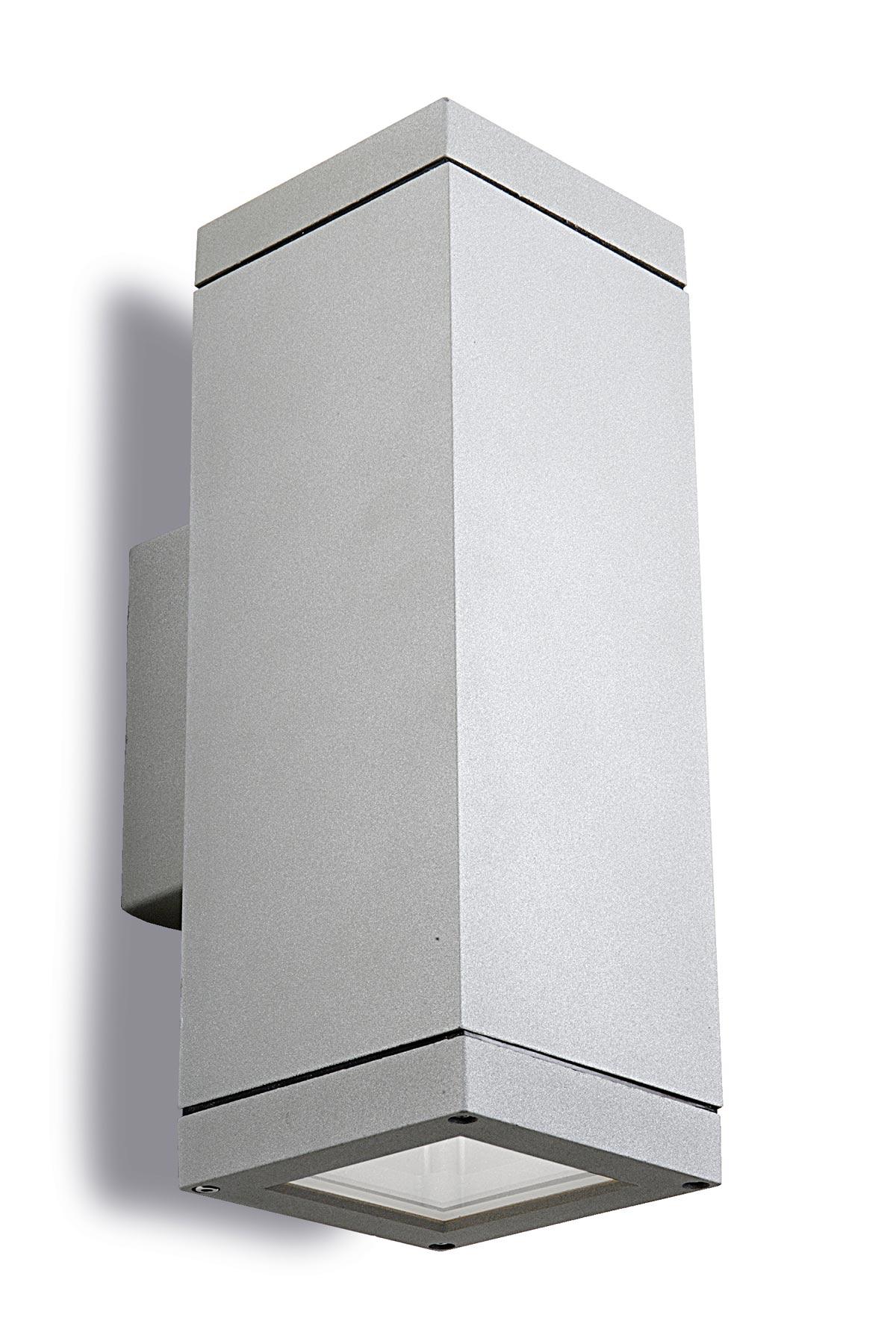 Applique Extérieure Eclairage Haut Et Bas petite applique design en aluminium gris spot section carrée, avec double  éclairage haut et bas