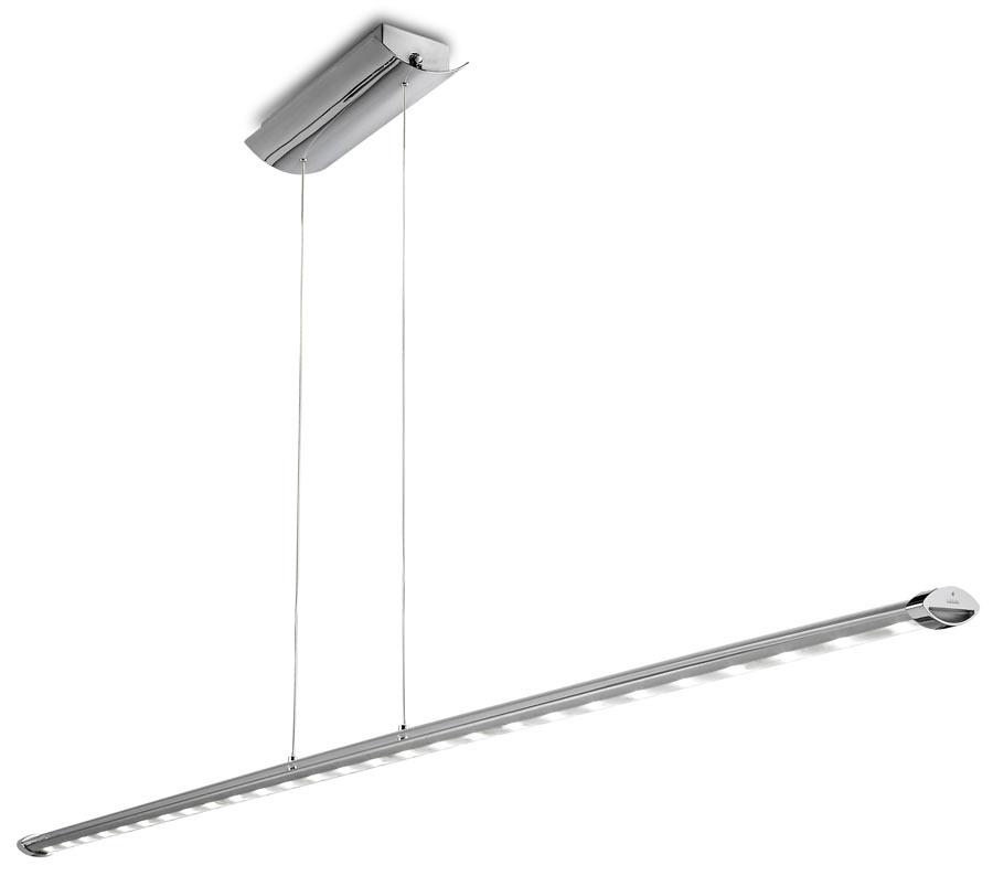 Ledaggio suspension fine et très longue design chromé 27 lumières. Leds C4.