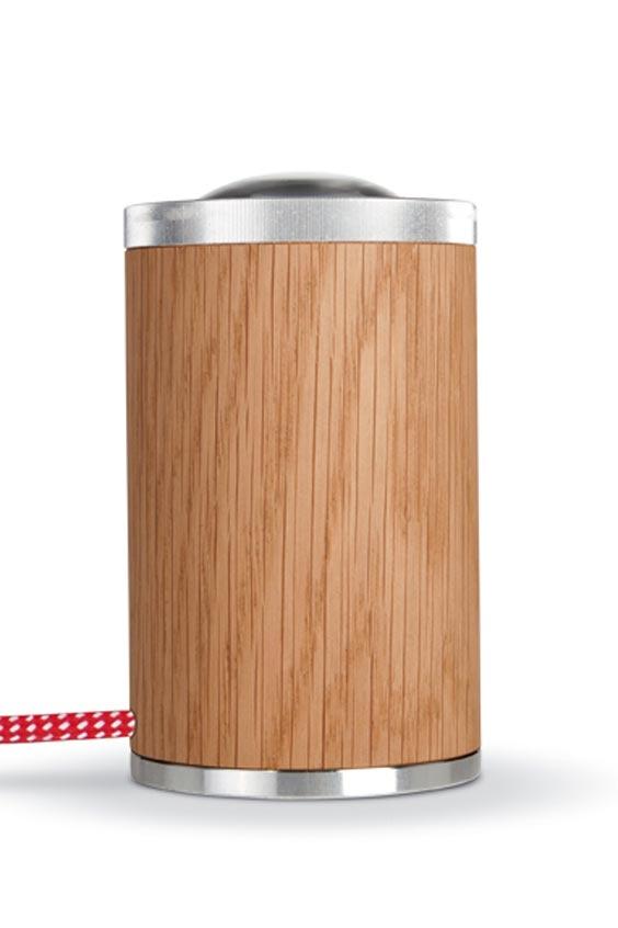 athene spot led cylindre bois et aluminium fil rouge et blanc less n more luminaire design. Black Bedroom Furniture Sets. Home Design Ideas
