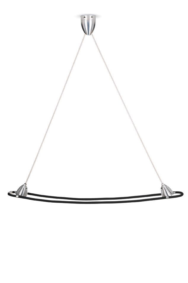 Athene suspension LED deux lumières sur flexible noir. Less