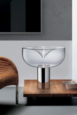 Grande lampe Aella en verre design futuriste. Leucos.