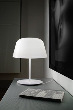 Lampe Ayers blanche en verre soufflé avec variateur. Leucos.