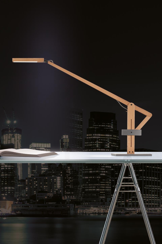 Lampe de bureau bois naturel et acier brut leva r f - Pied de lampe en bois brut a peindre ...