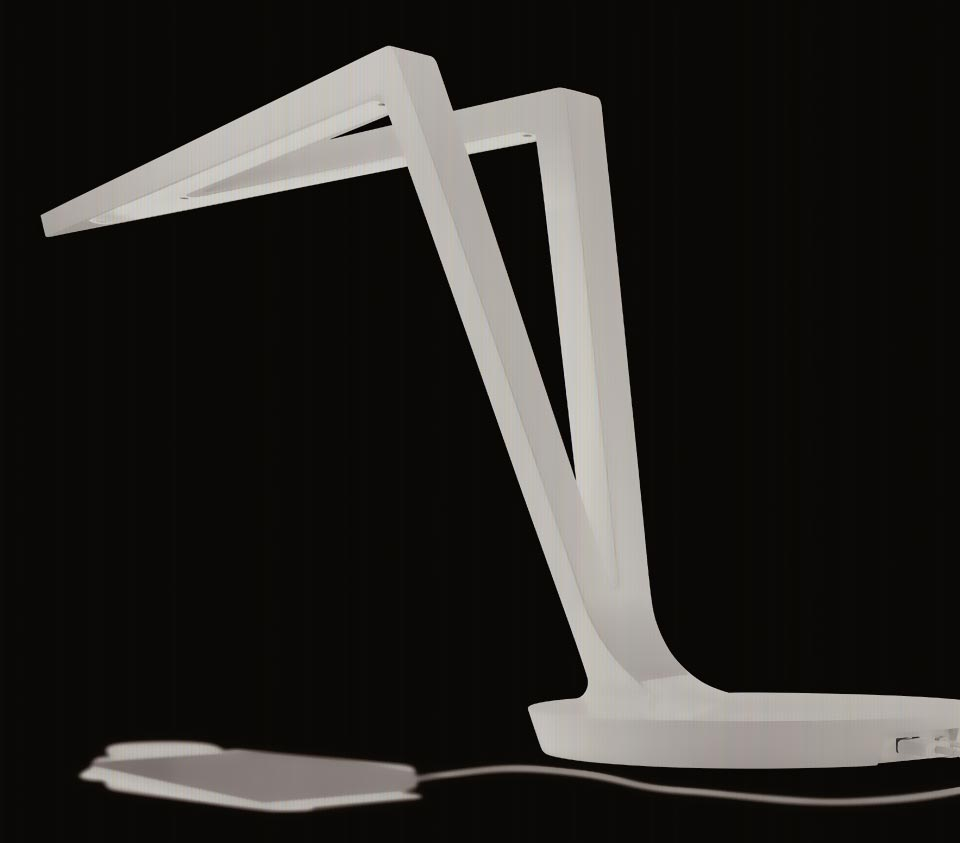 lampe de bureau blanche led avec chargeur usb flecha t r f 13080031. Black Bedroom Furniture Sets. Home Design Ideas