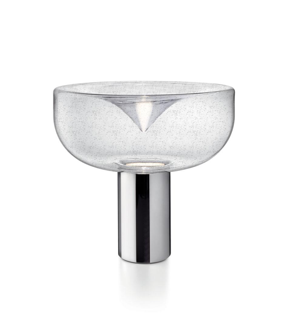 Lampe de table année 70 Aella en verre antique bullé grand modèle. Leucos.