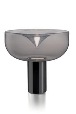 Lampe de table année 70 Aella en verre fumé grand modèle. Leucos.