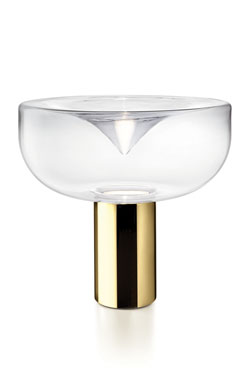 Lampe de table en verre fumé blanc et pied doré Aella grand modèle. Leucos.