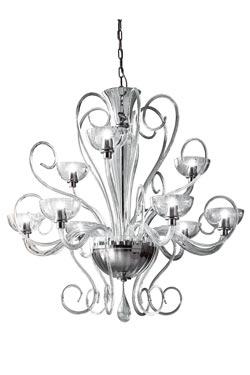 Lustre Bolero en verre transparent 9 lumières. Leucos.