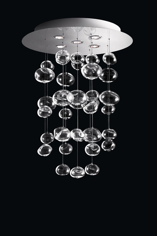 Suspension bulles de cristal en cascade Ether S. Leucos.