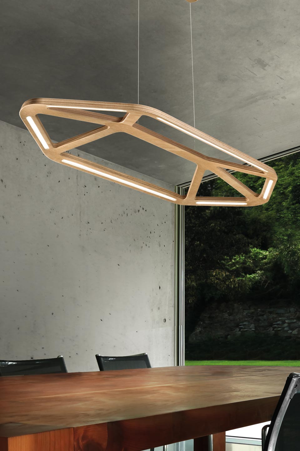 Suspension en bois naturel LED Aki. Leucos.