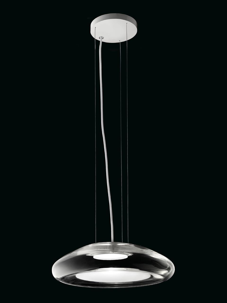 suspension keyra en verre souffl cristal transparent et opale blanc r f 16090119. Black Bedroom Furniture Sets. Home Design Ideas