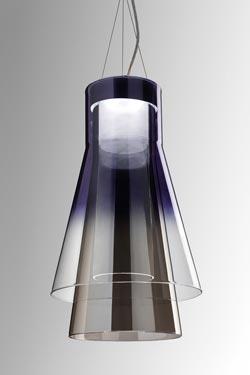 Suspension Trigona noire et argent en verre miroir, semi-transparent et transparent. Leucos.