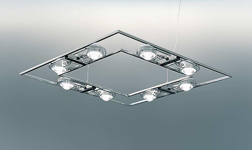 Ocular 710 suspension en acier poli brillant. Licht Im Raum.