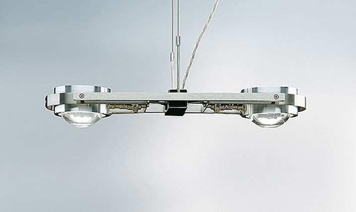 Ocular 2 suspension en acier poli brillant. Licht Im Raum.