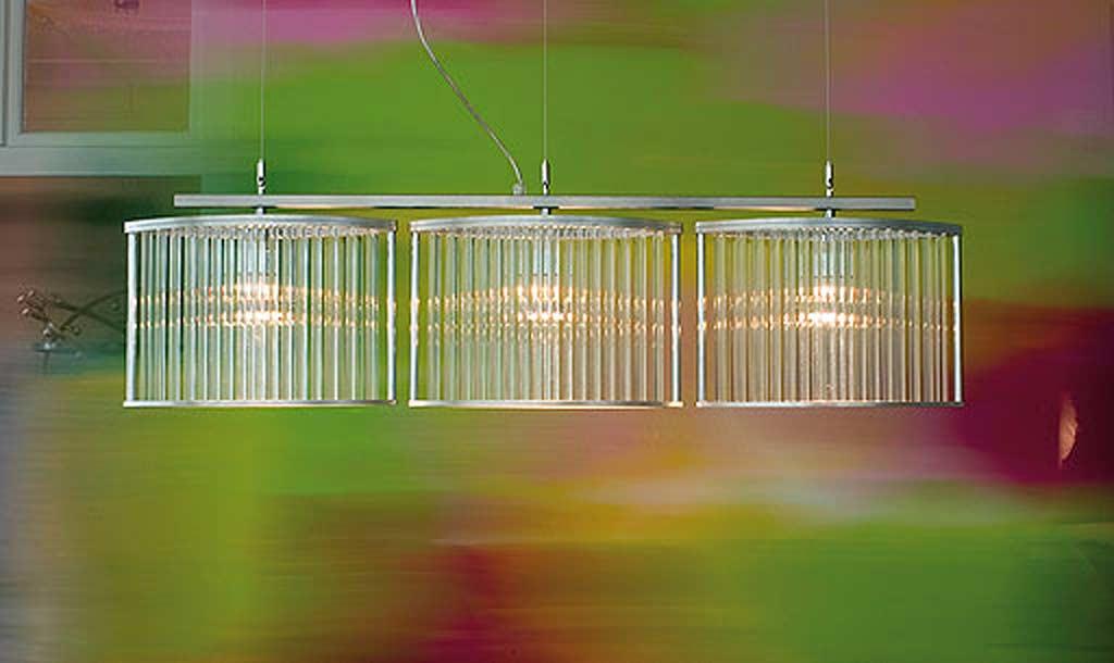 Stilio 3 suspension en acier brossé. Licht Im Raum.