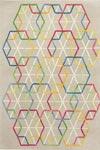 Tapis Love motif mosaïque multicolore sur fond gris - 140x200cm. Ligne Pure.
