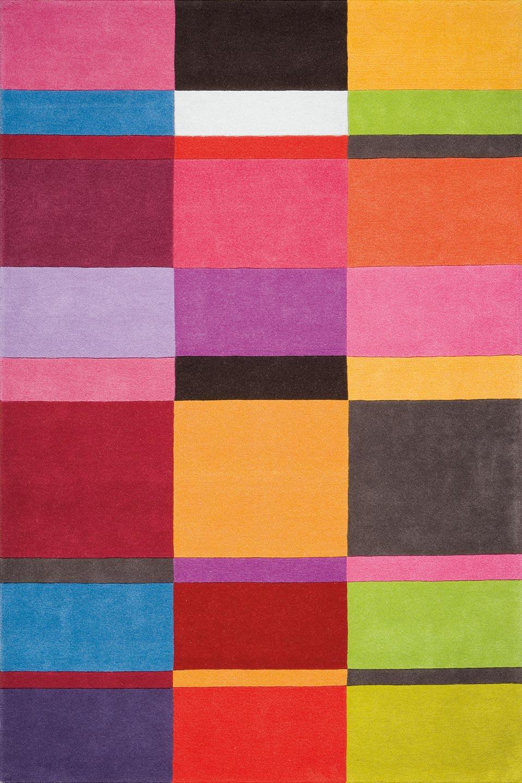 Tapis Multicolores Motif Rectangles Unis Ligne Pure Tapis Contemporains Fabriqu S La Main