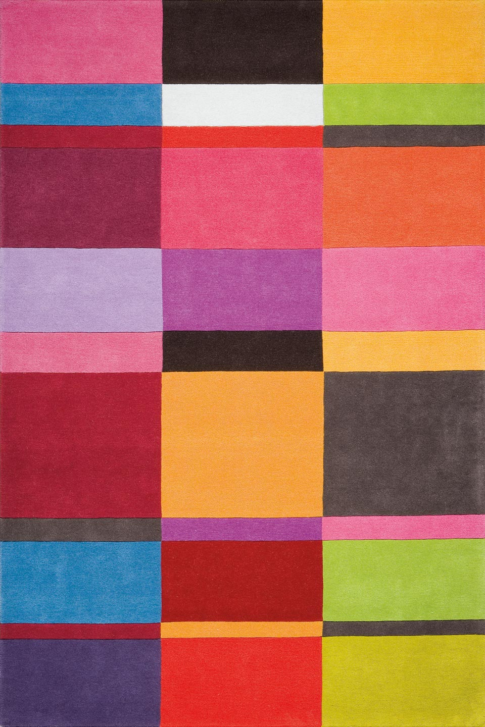 Tapis multicolores motif rectangles unis ligne pure tapis contemporains fabriqu s la main Beaux tapis contemporains