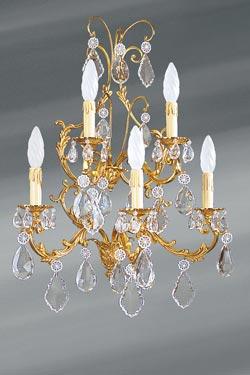 Applique de style Louis XV bronze doré et cristal cinq lumières. Lucien Gau.