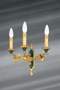 Applique dorée de style Empire, bronze massif, trois lumières. Lucien Gau.