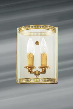 Applique en verre et bronze deux lumières. Lucien Gau.