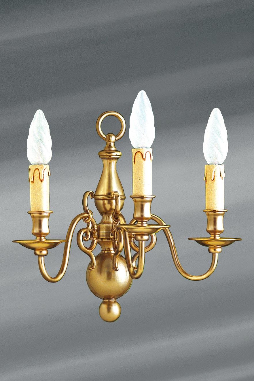 Applique style hollandais en laiton 3 lumières . Lucien Gau.