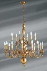18- lights Dutch style brass chandelier . Lucien Gau.