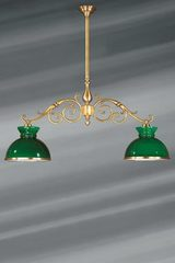 billiard chandelier Dutch style in patinated brass. Lucien Gau.