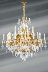 Bohemian crystal and gilded bronze chandelier Louis XV 45 lights. Lucien Gau.