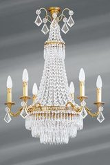 Bohemian crystal and old gold Louis XVI chandelier 9 lights. Lucien Gau.