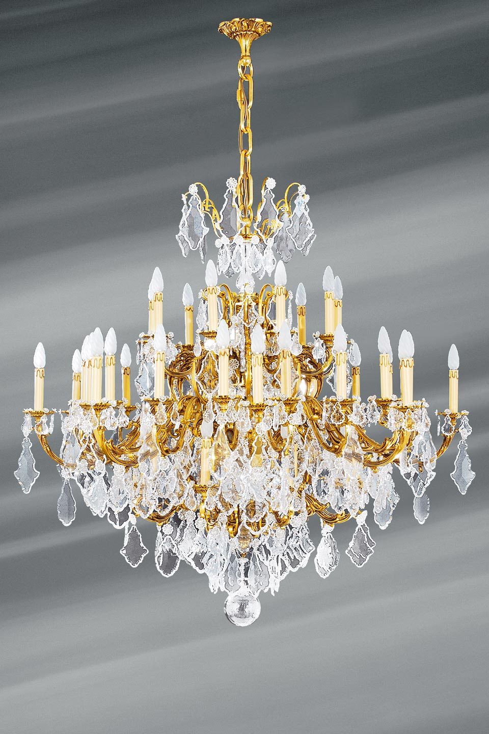Bohemian Crystal And Gilded Bronze Chandelier Louis Xv 45 Lights