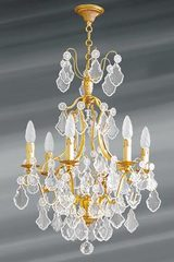 Bohemian crystal 6 lights Louis XV chandelier. Lucien Gau.
