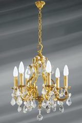 Bohemian crystal Louis XV style chandelier 6 lights. Lucien Gau.
