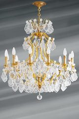 Bohemian crystal Louis XV chandelier twelve lights. Lucien Gau.