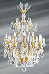 Bohemian crystal chandelier Louis XVI shape cage fifteen lights. Lucien Gau.
