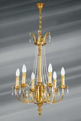 Bohemian crystal Louis XVI chandelier six lights. Lucien Gau.