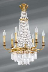 Bohemian crystal trimmings chandelier Louis XVI style 9 lights. Lucien Gau.