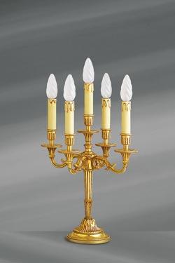 Chandelier bougeoir Louis XVI bronze patine vieil or, cinq bougies . Lucien Gau.