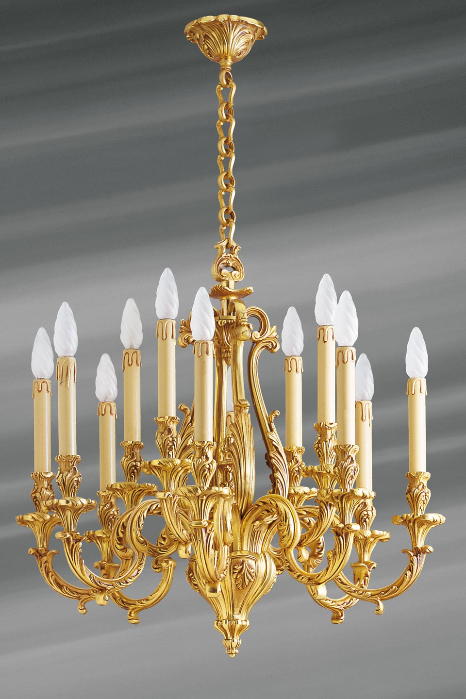 Bronze Chandelier Louis Xv Twelve Lights Lucien Gau Massive